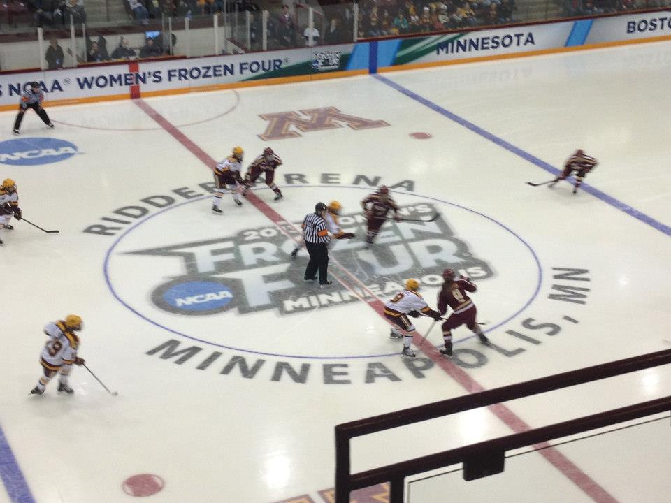 The opening faceoff of the 2013 Women's Frozen Four semifinal between Minnesota and Boston College. (Photo: Kat Hasenauer Cornetta)