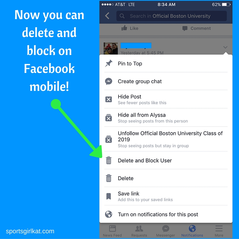 New facebook feature delete and block a group user from your phone the new options for deleting a post and banning a group member on facebook mobile ccuart Image collections