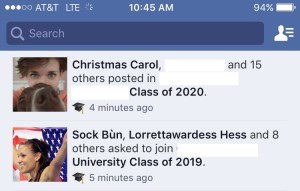 Facebook group entry requests from Sock Bun and Christmas Carol