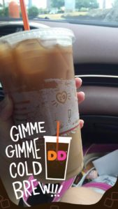 Dunkin' Donuts released a SnapChat geofilter to commemorate the release of its cold brew offering. (Photo: Kat Cornetta.)